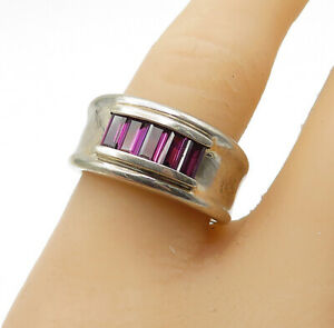 925-Sterling-Silver-Amethyst-5-Stone-Raised-Edge-Band-Ring-Sz-8-R14213
