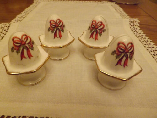 Holiday Ribbons Royal Albert Old Country Roses Set 4 name place card holders