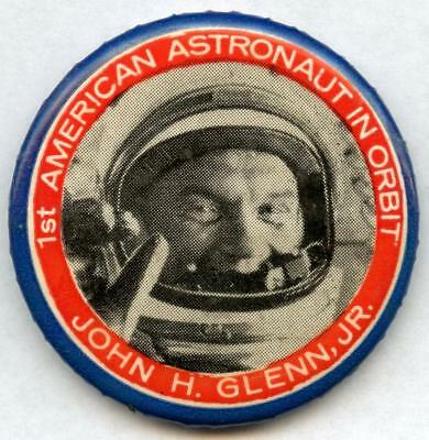 1st American In Orbit 1962 Mercury 6 John Glenn Nasa Pin Pinback Button