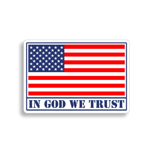 In God We Trust Sticker USA American Flag Laptop Car Vehicle Window Bumper Decal