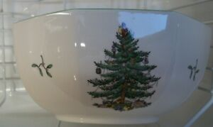 Spode-CHRISTMAS-TREE-GREEN-TRIM-Octagonal-Serving-Bowl
