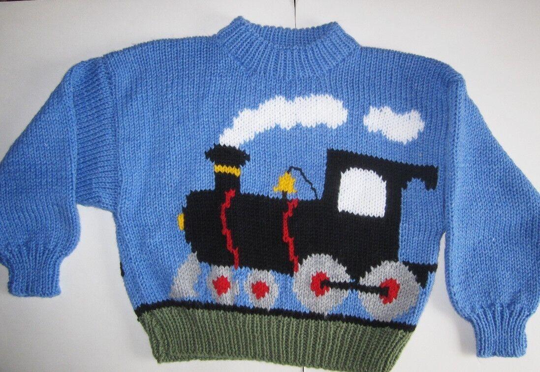 Knitting Pattern Train Sweater : Train Motif Childrens Sweater 2~8 years Thomas Fans! Aran Knitting Pattern ...