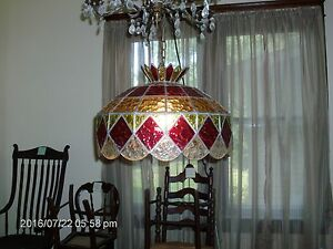 Vintage Hanging Stained Glass Light Fixture Ceiling Lamp With Lead ...