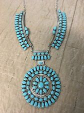 Navajo Native American Huge Stunning Turquoise Cluster Necklace Juliana # 1
