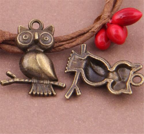 PJ723 10pc Antique Bronze OWL Pendant Bead Charms Accessories wholesale