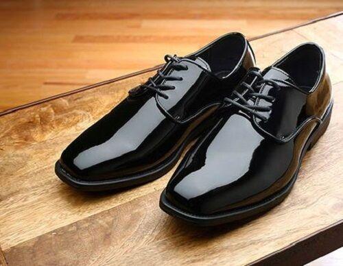 6th Avenue Modified Square Toe Black Lace Up Patent Tuxedo Shoes