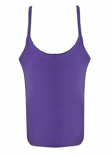 Girls Plain Microfiber Vest Top Children Sleeveless Strappy Dance Lycra Vest Top