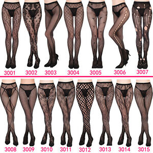 Women-039-s-Black-Lace-Fishnet-Hollow-Patterned-Pantyhose-Tights-Stocking-Lingerie