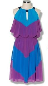 Nwt-Vince-Camuto-Color-Block-Blue-Night-Dress-Size-4-138