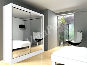 Image Is Loading Est Wardrobe With Mirrors Sliding Doors Bedroom Hallway