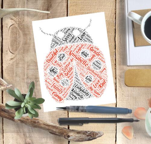Personalised LADYBIRD Word Art Print Typography End of Term Teacher Leaving Gift