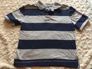 db674f250 Bugle Boy Boys Navy Blue Gray Striped Short Sleeve Polo Shirt 5-6   eBay