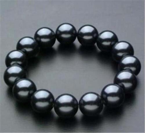"""Merveilleux 12 mm noir South Sea Shell Pearl PERLES rondes élastique Bracelet 7.5/"""""""
