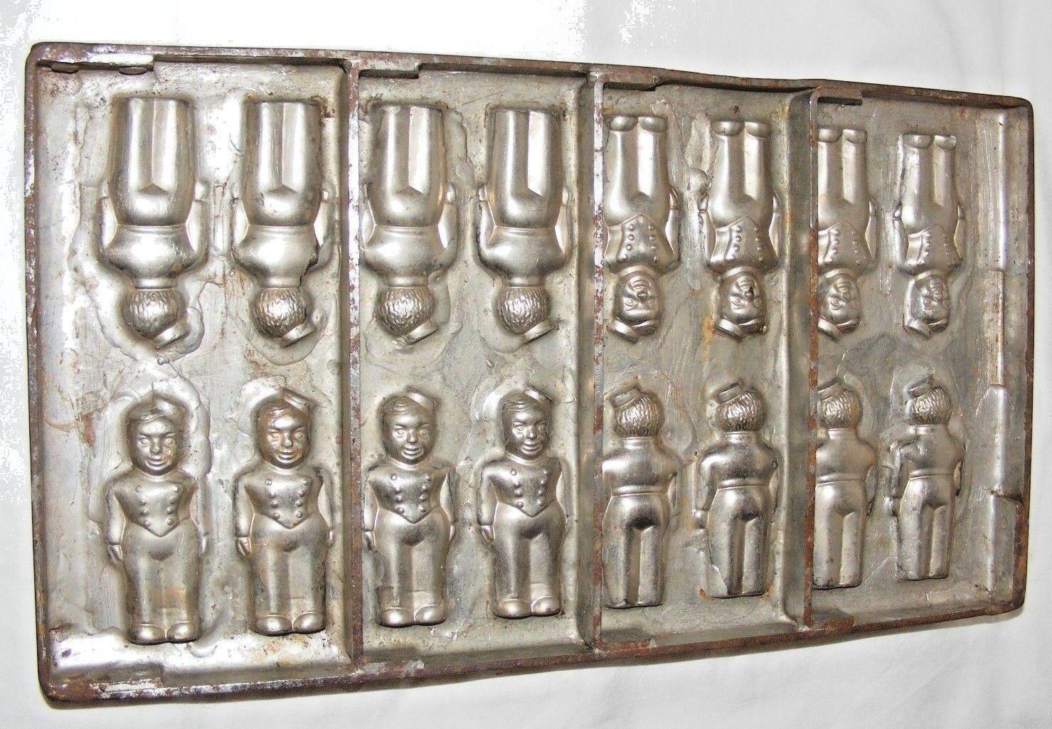 Vintage Hollandais Chocolat Moule chasseurs multiples Moule 16 avant et arrière Tilburg