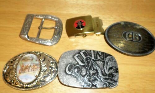 Lot Vintage Belt Buckles Men Brass CB Radio Sun Re