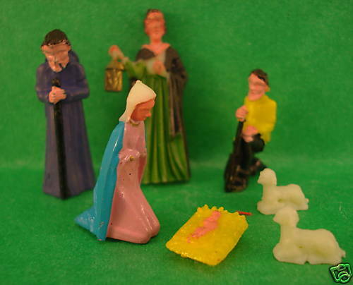 Doll House plastic painted nativly set of 7