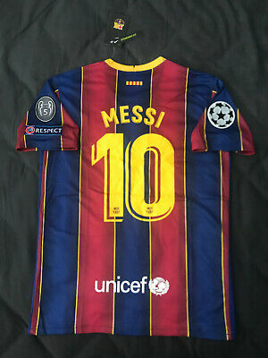 Fc Barcelona Home Jersey 2020 2021 Lionel Messi 10 Uefa Champions League Small Ebay