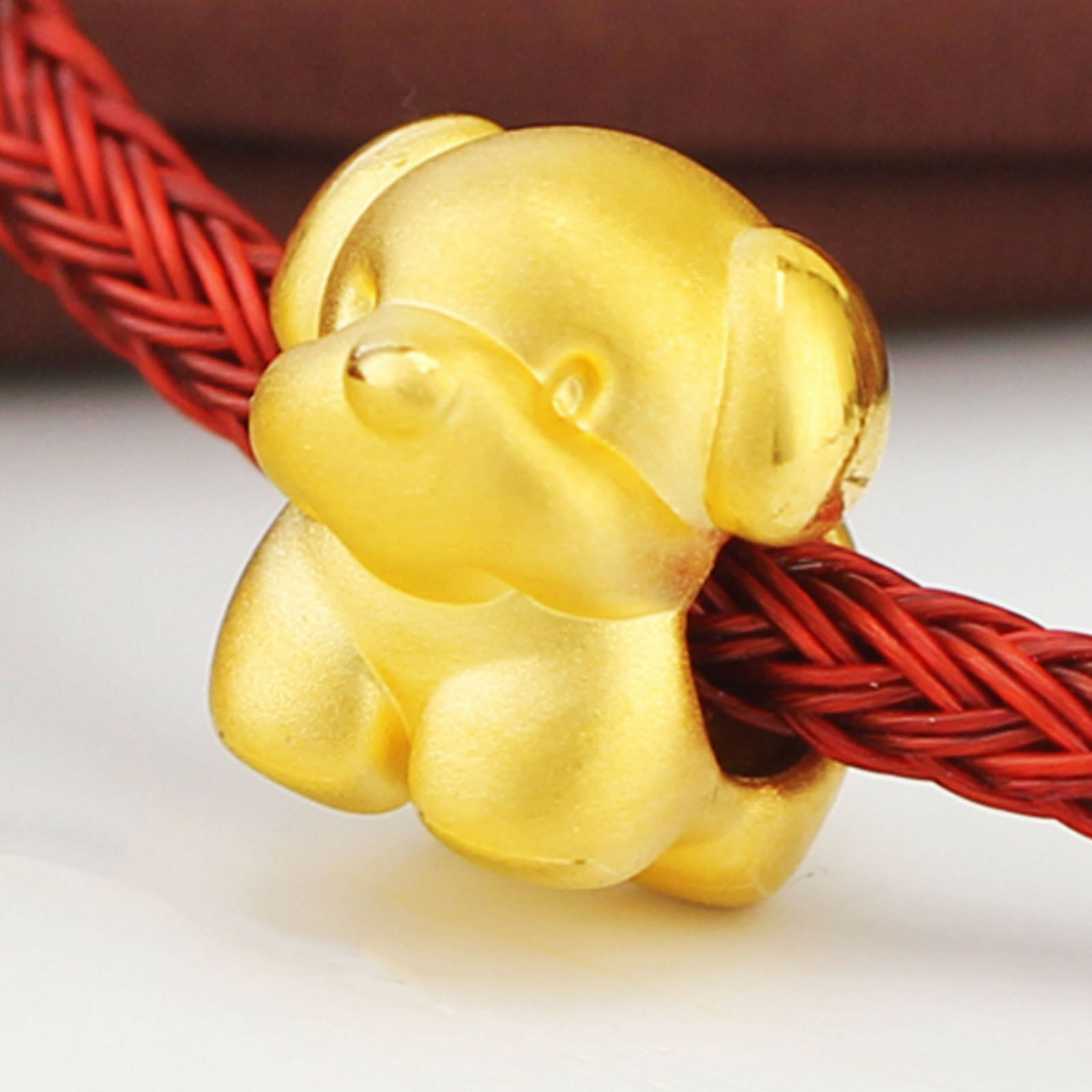 Pure 24K 999 Yellow gold Bead 3D Men Women Cute Puppy Dog Pendant   1.5g