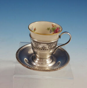 Rose Point by Wallace Sterling Silver Demitasse Cup with Saucer and Liner #3064