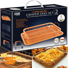 2 Pcs Copper Crisper Non-Stick Oven Mesh Baking Tray Chips Crisp Basket Tool