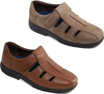 Padders DYLAN Mens Smooth Leather Extra Wide Plus Fit Touch Fasten Shoes H//K