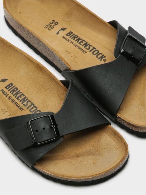 Women Birkenstock Madrid Black Slides Adjustable 1 Strap Slide Sandals NEW
