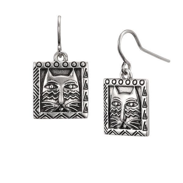Laurel Burch Jewelry Ziggy Cat 5062 Silver Tone Drop Earrings Geometric Ebay
