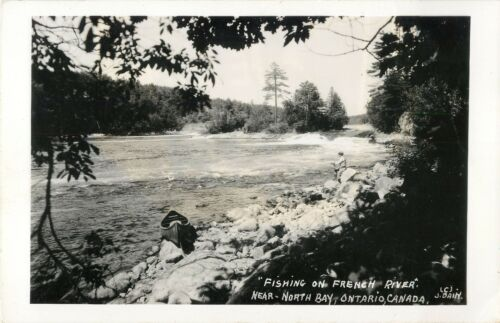 """Fishing On French River"" North Bay, ON Canada RPPC"
