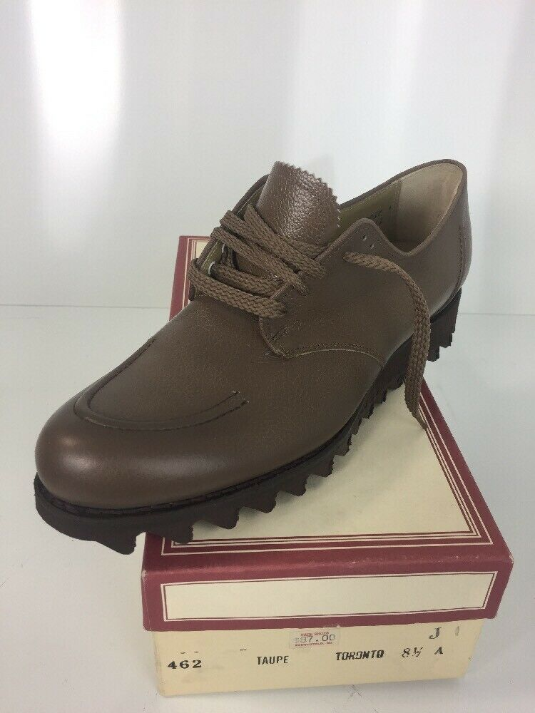 Vintage NATHAN HACK donna Leather Oxfords RIPPLE Sole 1950 - 60's Sz. 8.5