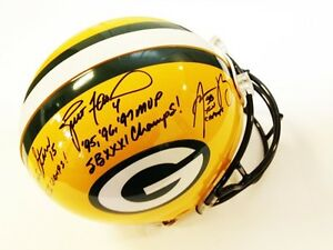 Brett-Favre-Aaron-Rodgers-Bart-Starr-Autographed-Signed-Authentic-Packers-Helmet