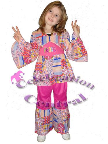 1960s 60s Sixties Hippie Hippy Girl Pink Fancy Dress Costume Child