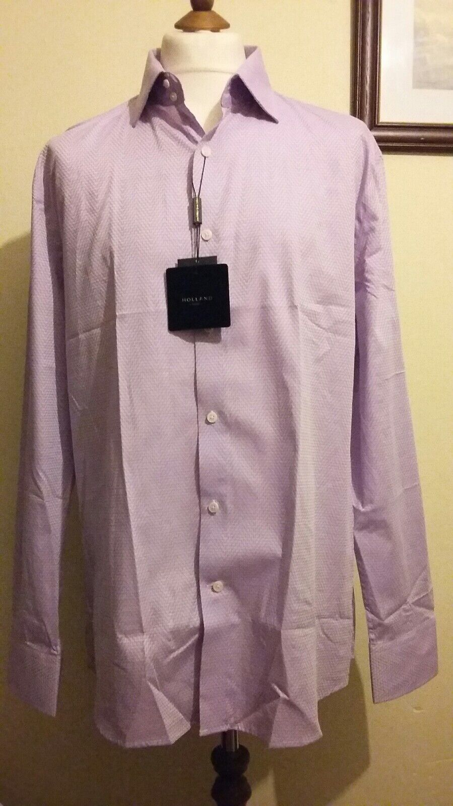 HOLLAND ESQUIRE Chevron Pattern Long Sleeve shirt purplec Size 17.5  (XL)