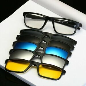 5Pcs-Magnetic-Clip-on-Polarized-Sunglasses-UV-1PC-Sporty-Rx-able-Glasses-Frames