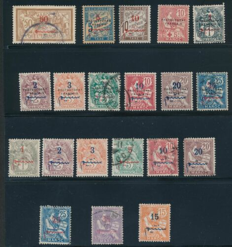 1891 1918 French Morocco 64 EARLY ISSUES AS SHOWN; CV $206
