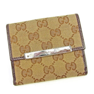 ef358fa26be Gucci Wallet Purse Folding wallet GG Beige Brown Woman Authentic ...