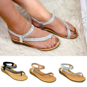 Details about Ladies Wedge Flat Sandals Girls Women Diamante Summer Sling Back Comfy Shoes