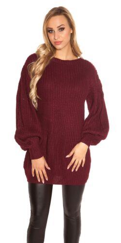 KOUCLA Pullover Maglione abito a maglia con maniche a sbuffo