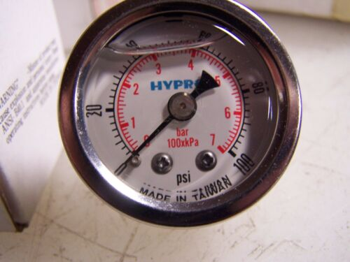 "NEW HYPRO STAINLESS OIL FILLED GAUGE 15400FG01B100  1-100 PSI 1.5/"" FACE 1//8/"" NPT"