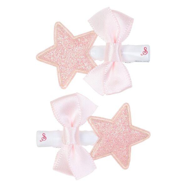 *104267 Mollette Per Capelli Stelle Glitter Clip Rosa Molla Decorazione Bambina