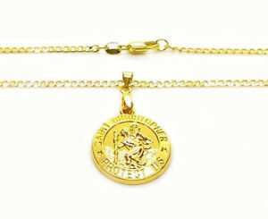 18k-Yellow-Gold-Men-039-s-Women-039-s-24-034-Cuban-Curb-Link-Necklace-And-Saint-Christopher