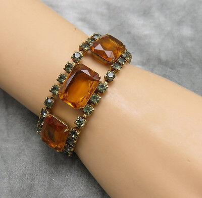 Vintage Bracelet Amber Smoky Topaz Rhinestone Gold 6.75 inch Wide Stunning 766f
