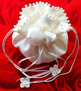 Charitable Ladymyp © Mariée Sac Avec Fleur En Satin, Organza Et Perles-afficher Le Titre D'origine