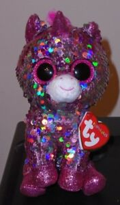 "Ty FLIPPABLES ~ SPARKLE the Unicorn Changing Sequins 6"" Beanie Boos NEW & RARE"