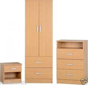 Beech-Effect-2-Door-Wardrobe-3-Drawer-Chest-1-Drawer-Bedside-Chest-POLLY