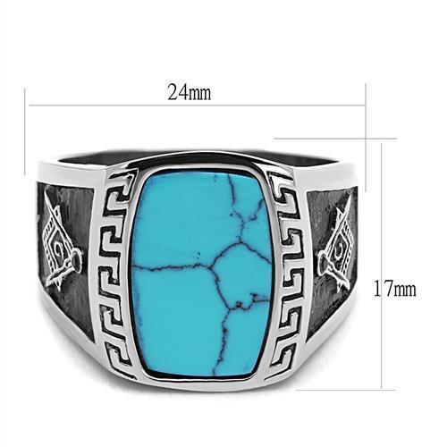 Mason Masonic Freemason Lodge G Stainless Steel Blue Synthetic Turquoise Ring