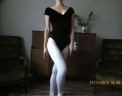 New Adult lady or girl ballet dance cap sleeved leotard with velvet bust
