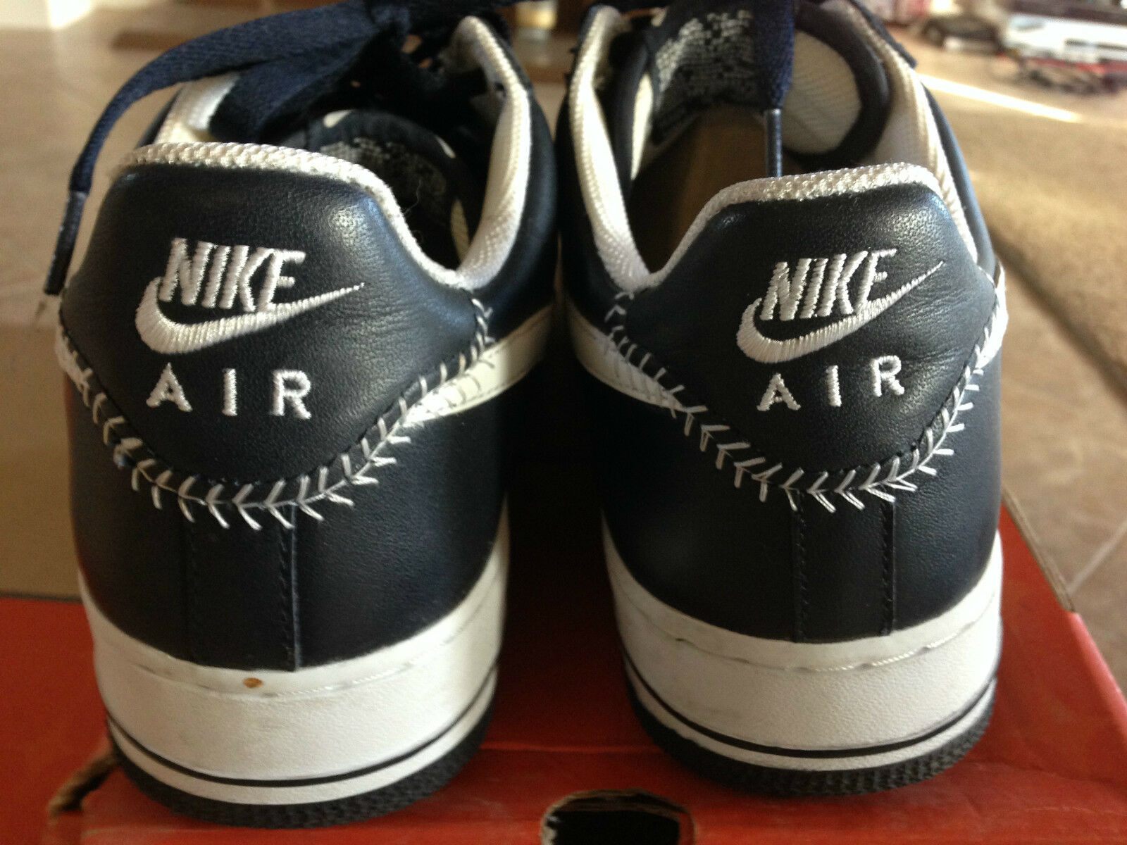 NIKE AIR FORCE 1 2006 OBSIDIAN/ WHITE BASEBALL ORIGINALS Uomo SIZE 9.5 FREE SHIP