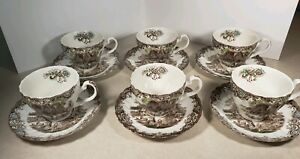 Vintage-Heritage-Hall-Staffordshire-England-Set-of-6-Tea-Cups-and-Saucers