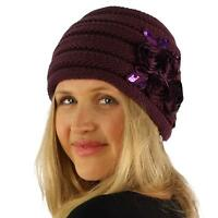 Satin Floral Sequins Hand Knit Handmade Headwrap Ribbed Wide Headband Purple