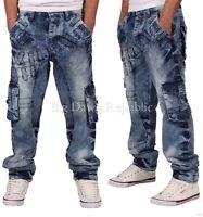 Peviani Mens Boys Combat Cargo Acid Wash Star Jeans Time Is Hip Hop Money Radly